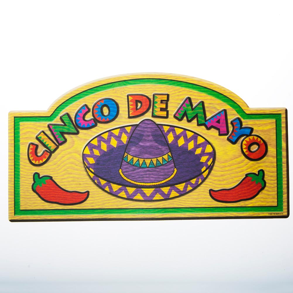 "Make Your Fiesta HOT. Spice up your party decor with this ""Cinco De Mayo"" Sign Cutout. Your guests will enjoy this fun fiesta sign at your upcoming bash! Cutout is approximately 18 1/2 x 9 3/4. Glossy on one side, matte on the other. Made in the USA. A memorable fiesta is in the details! Stock up on Cinco De Mayo and fiesta supplies for a hot party no one will want to miss!"