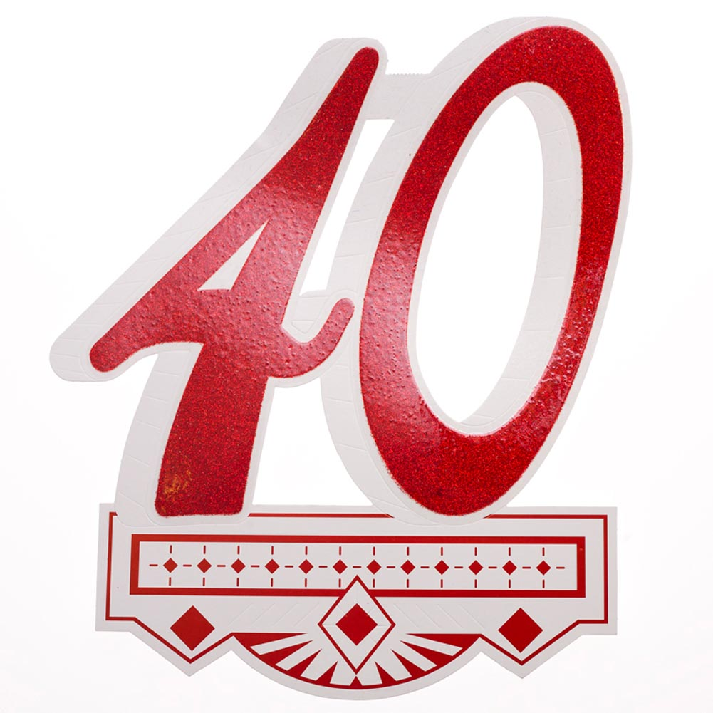 "A 40th Celebration To Remember. Throw a 40th birthday bash that won't be forgotten with this ""40"" Glitter Cutout. Decorate your wedding anniversary or birthday party with this glittery 40 cutout for a decoration that will please your guests and your budget! 40th cutout is approximately 11 1/4 x 14 1/4. Made in the USA. Celebrate your 40th birthday or wedding anniversary in style with fun and fabulous decorations. Stock up on the 40th party supplies you need to make their fortieth party one to remember!"