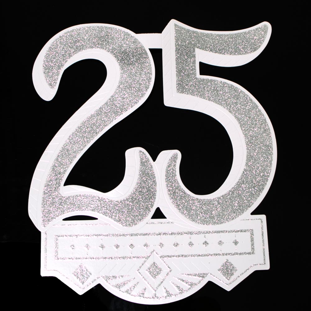 "A 25th Celebration To Remember. Throw a silver celebration that won't be forgotten with this ""25"" Glitter Cutout. Decorate your wedding anniversary or birthday party with this glittery 25 cutout for a decoration that will please your guests and your budget! 25th cutout is approximately 12 x 14. Made in the USA. Celebrate your 25th birthday or wedding anniversary in style with fun and fabulous decorations. Stock up on the 25th party supplies you need to make their twenty-fifth gathering one to remember!"