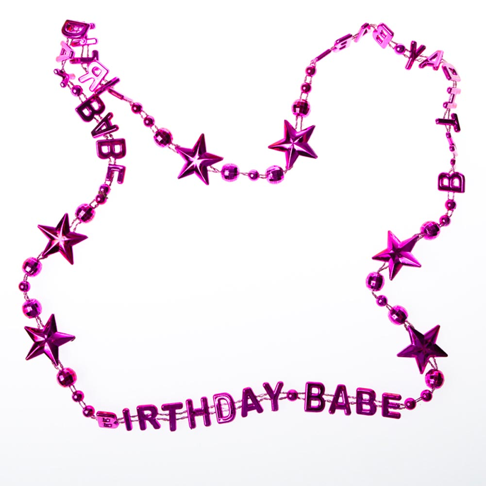 "Girls' Just Want To Have Fun. Celebrate your favorite female with these fun and fabulous ""Birthday Babe"" Beads! These hot pink birthday beads are the perfect accessory for your favorite gal's big day! Pink beads are approximately 36 from end to end. Made of plastic. Show your favorite females how much you care with pink birthday favors, toys, and gifts! Stock up on the pink party supplies you need to make this birthday an event to remember!"