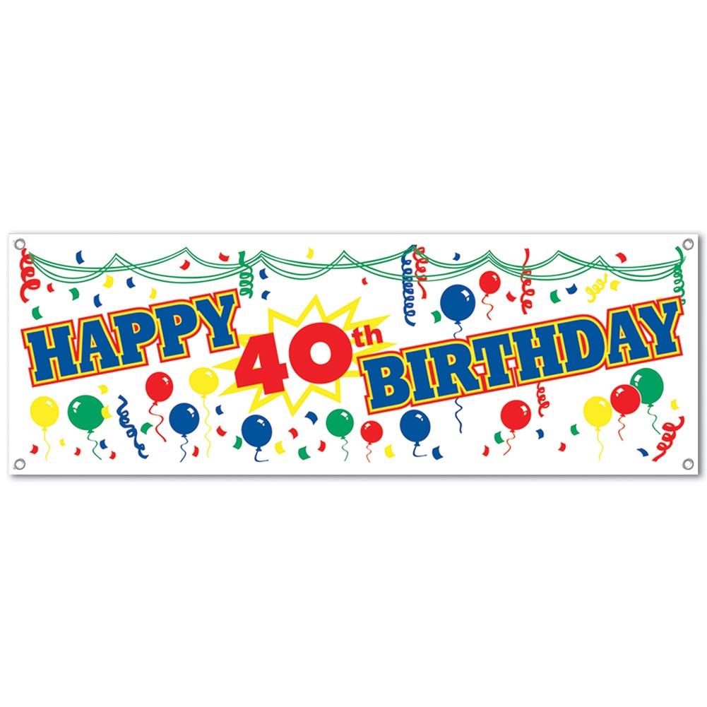Happy 40th Birthday Plastic Banner 014-57640-40