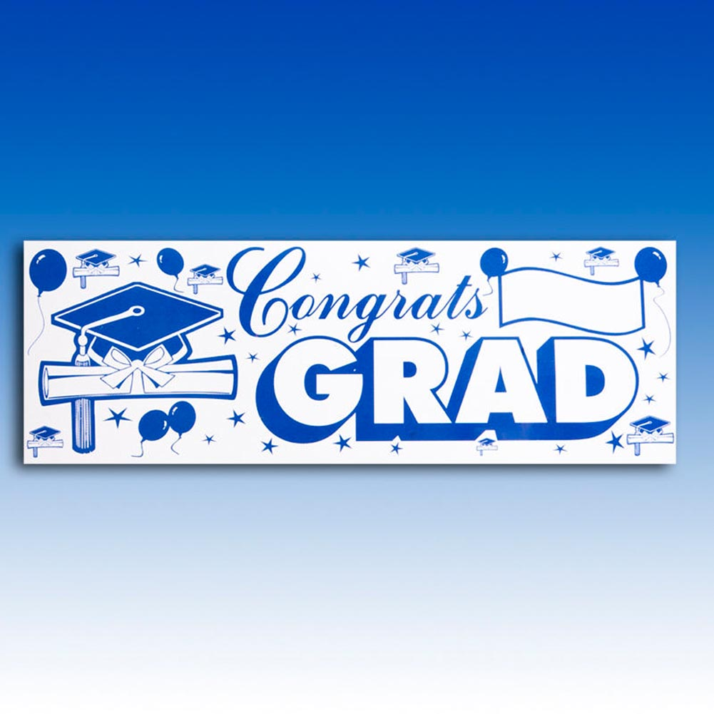 Congrats Grad Sign Banner 014-57647BW