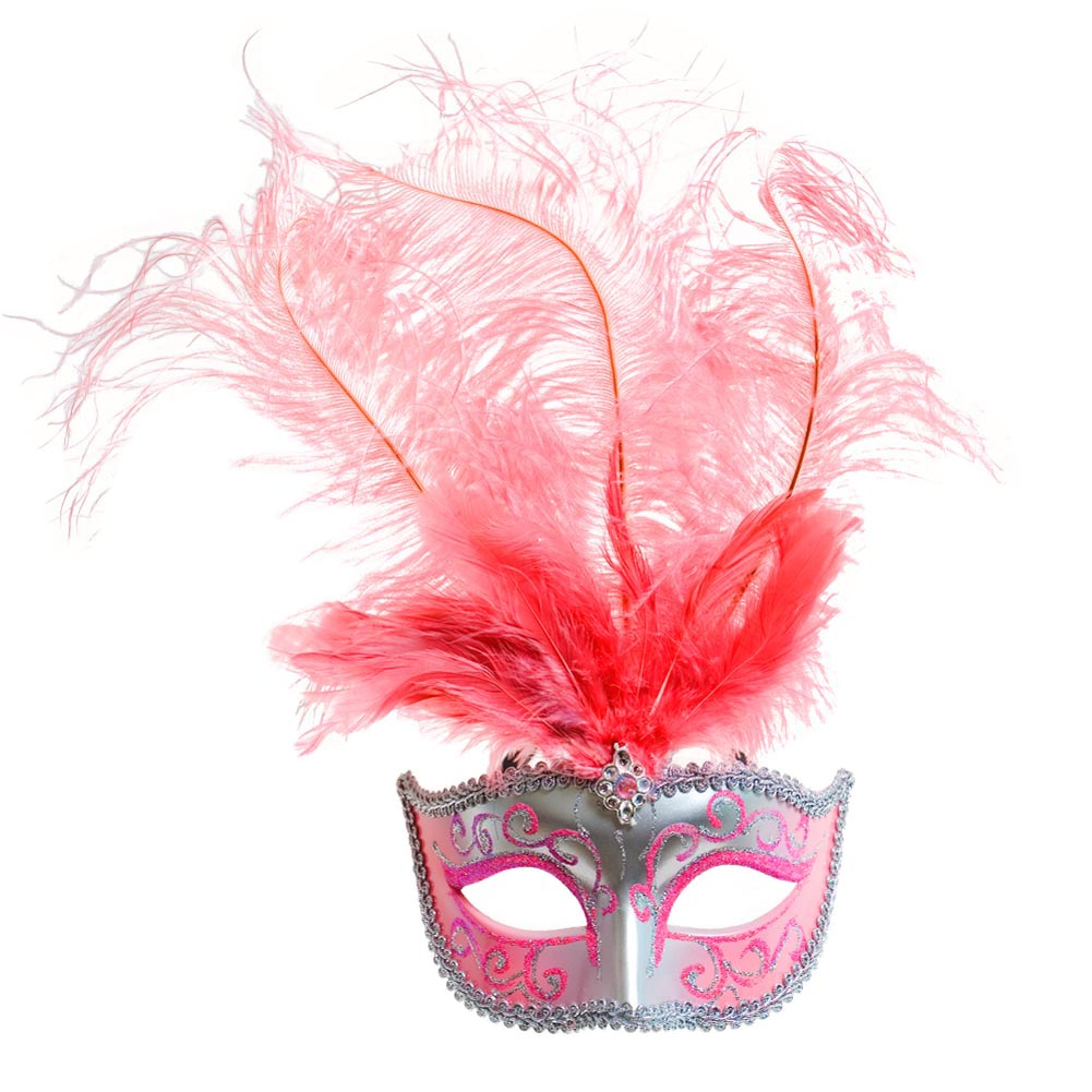 Pink Masquerade Feather Mask 085-022
