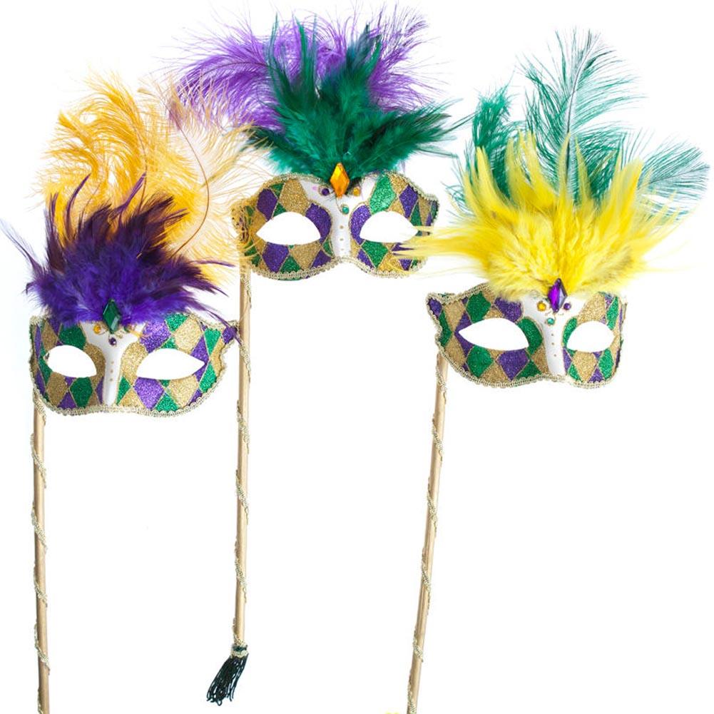 Mardi Gras Handheld Glitter Venetian Feather Mask 085-048