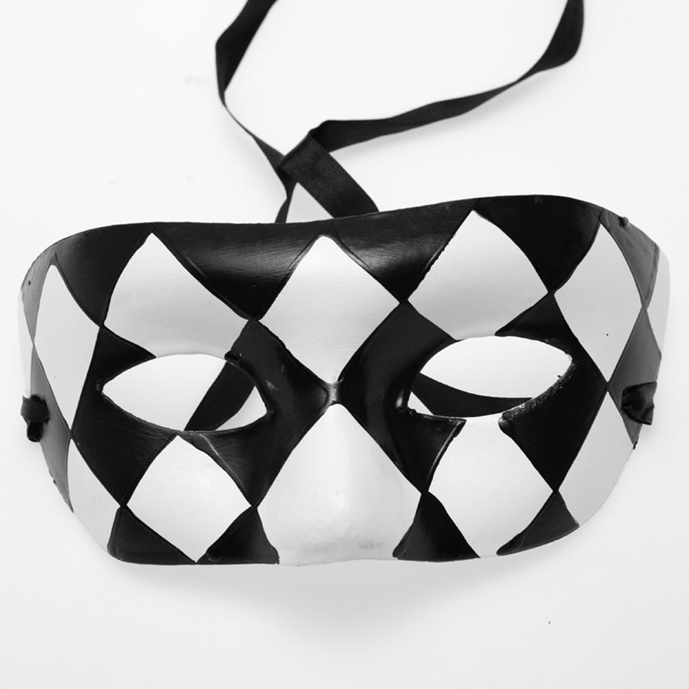 Paper Mache Black and White Half Mask 085-075