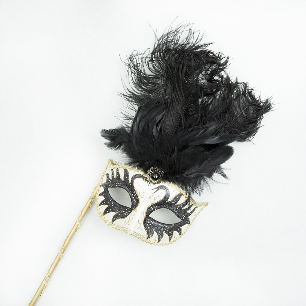 Handheld Black and Gold Masquerade Feather Mask 085-139