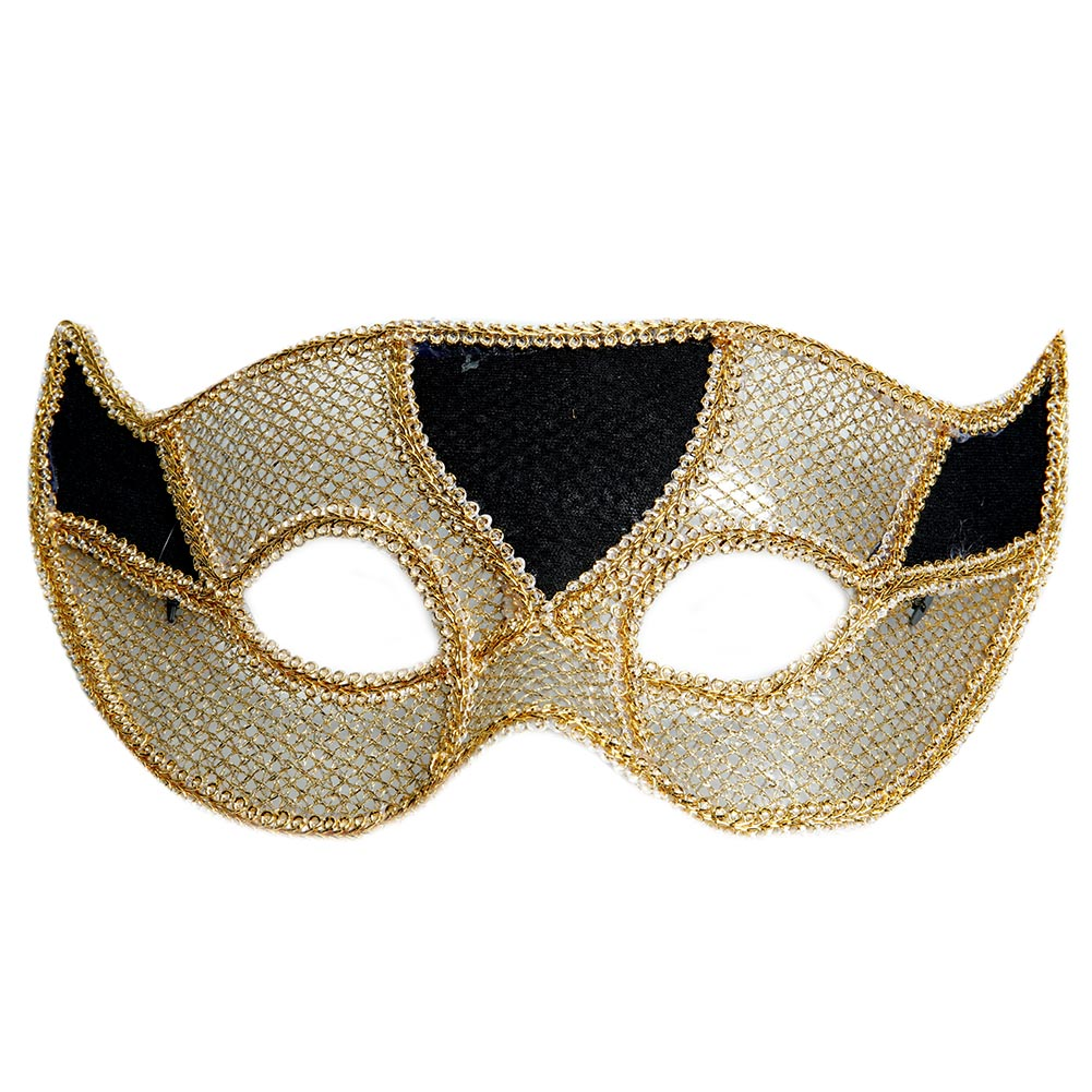 Men's Black and Gold Half Mask 085-148