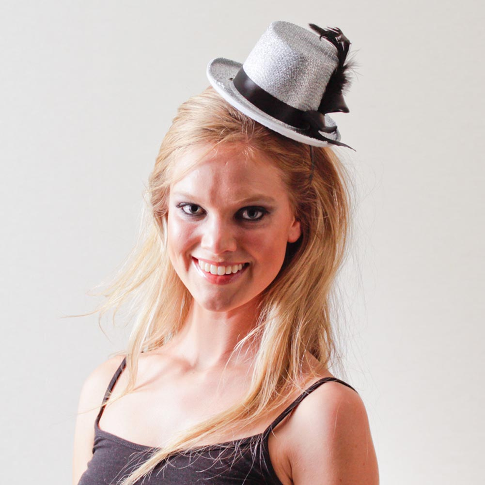 Silver Top Hat Fascinator 092-183