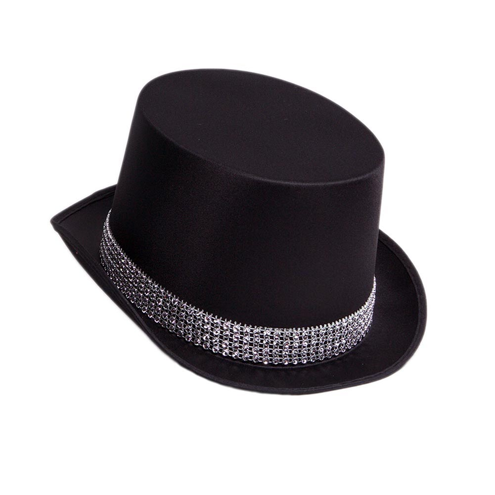 Satin Top Hat With Rhinestones 092-213