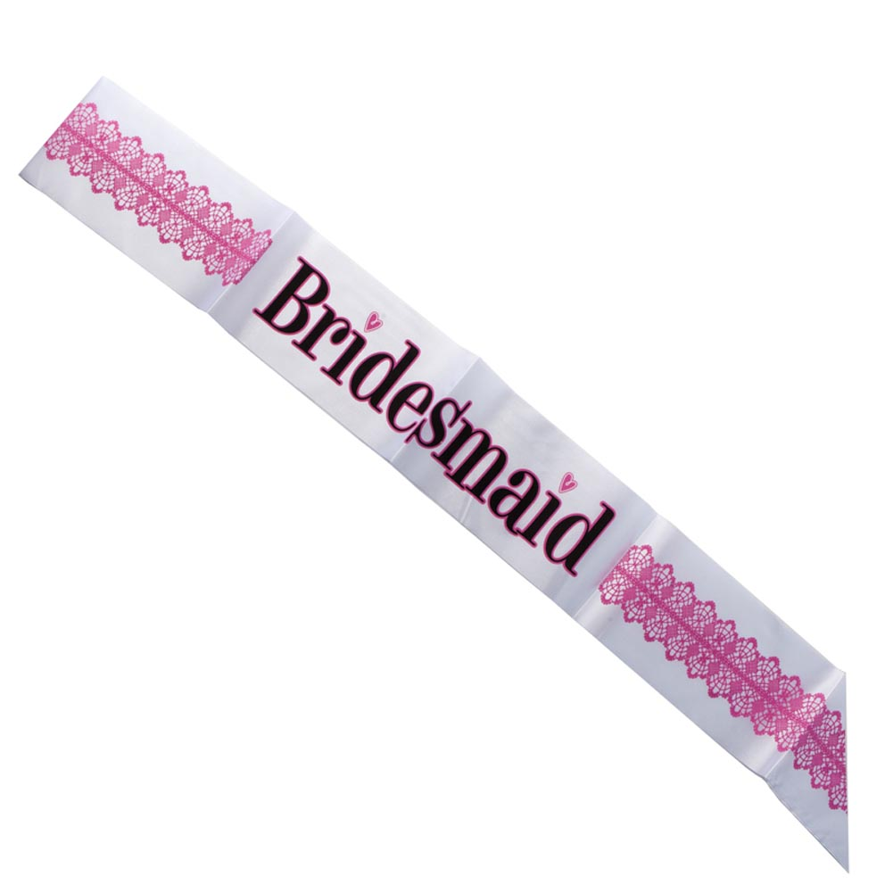 "Shower the Bridemaids to Be With Fun. Give each of your favorite gals a ""Bridesmaid"" Sash before your bachelorette party to the fun started! Everyone will love seeing your bridal party in their special sashes during the bachelorette party, wedding shower, or pre-wedding activity! One size fits most. White, hot pink, and black bridesmaid sash. Quantities Limited. Order now before they're gone forever! Make sure your bridal party has fun accessories for all of your pre-wedding fun. A wild girls night out just isn't the same without fun favors, toys, and gifts to celebrate the occasion!"
