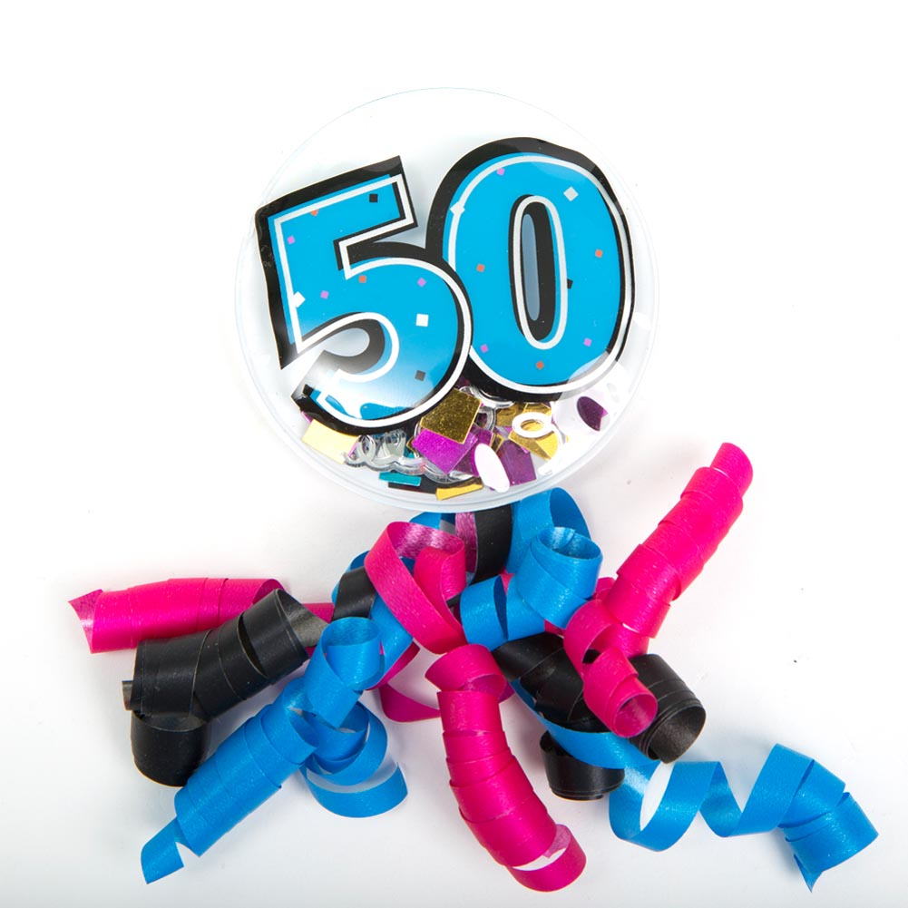 "A 50th to Remember. Have a super silly celebration during your upcoming party with the ""50"" Bubble Sticker Badge. This too cute sticker is the perfect accessory for the birthday boy or girl to wear without any damage to their shirt or blouse! Bubble sticker is approximately 3. Air sticker and attached curling ribbon is approximately 7 long. ""50"" decoration is filled with confetti. Simple peel paper off mounting tab to instantly decorate anything including clothing, gift bags, or packages. Whether it is a small gathering or a large event, stock up on the birthday party supplies you need to make the special people in your life feel celebrated!"