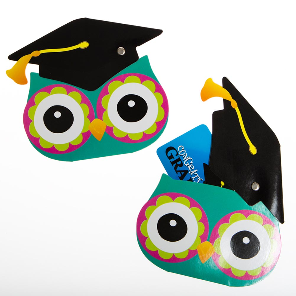 Colorful Graduation Owl Gift Card Holders