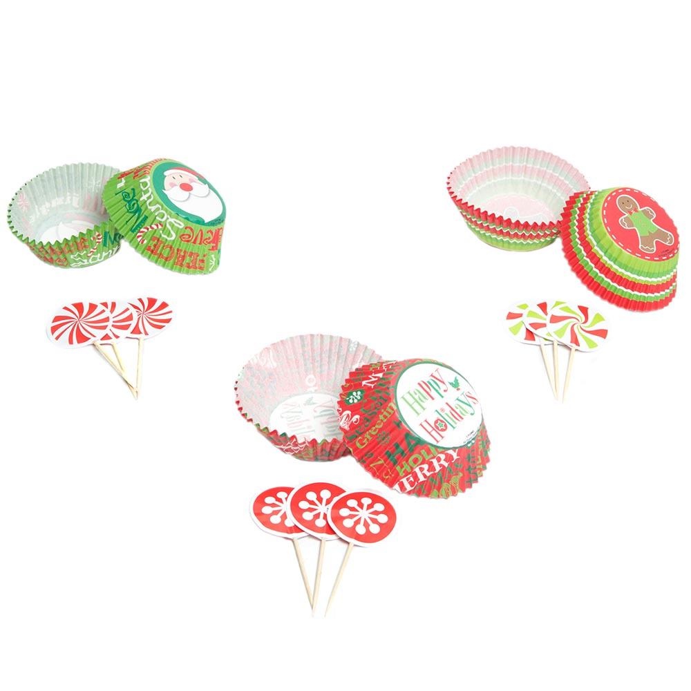 Standard Holiday Cupcake Liners With Picks 103-117