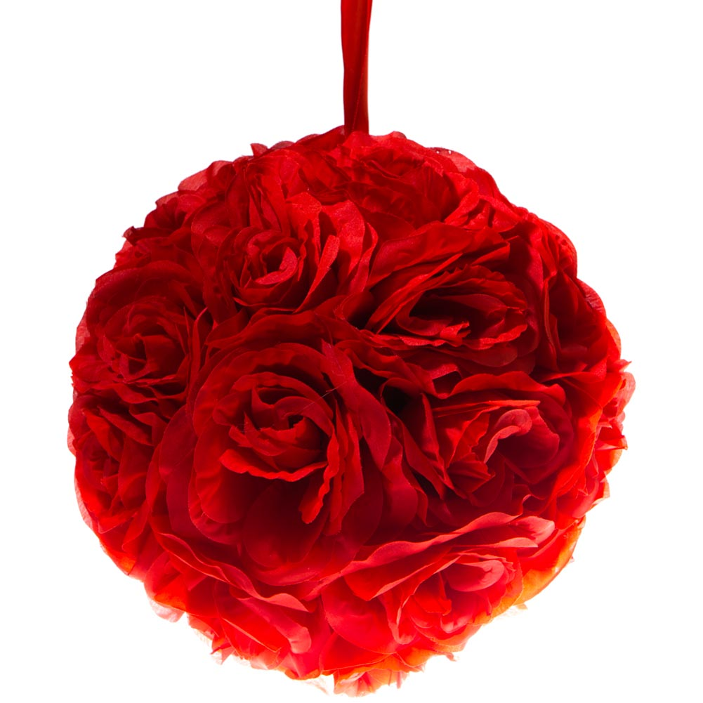 "10"""" Red Flower Pomander Kissing Ball"" 104-063"