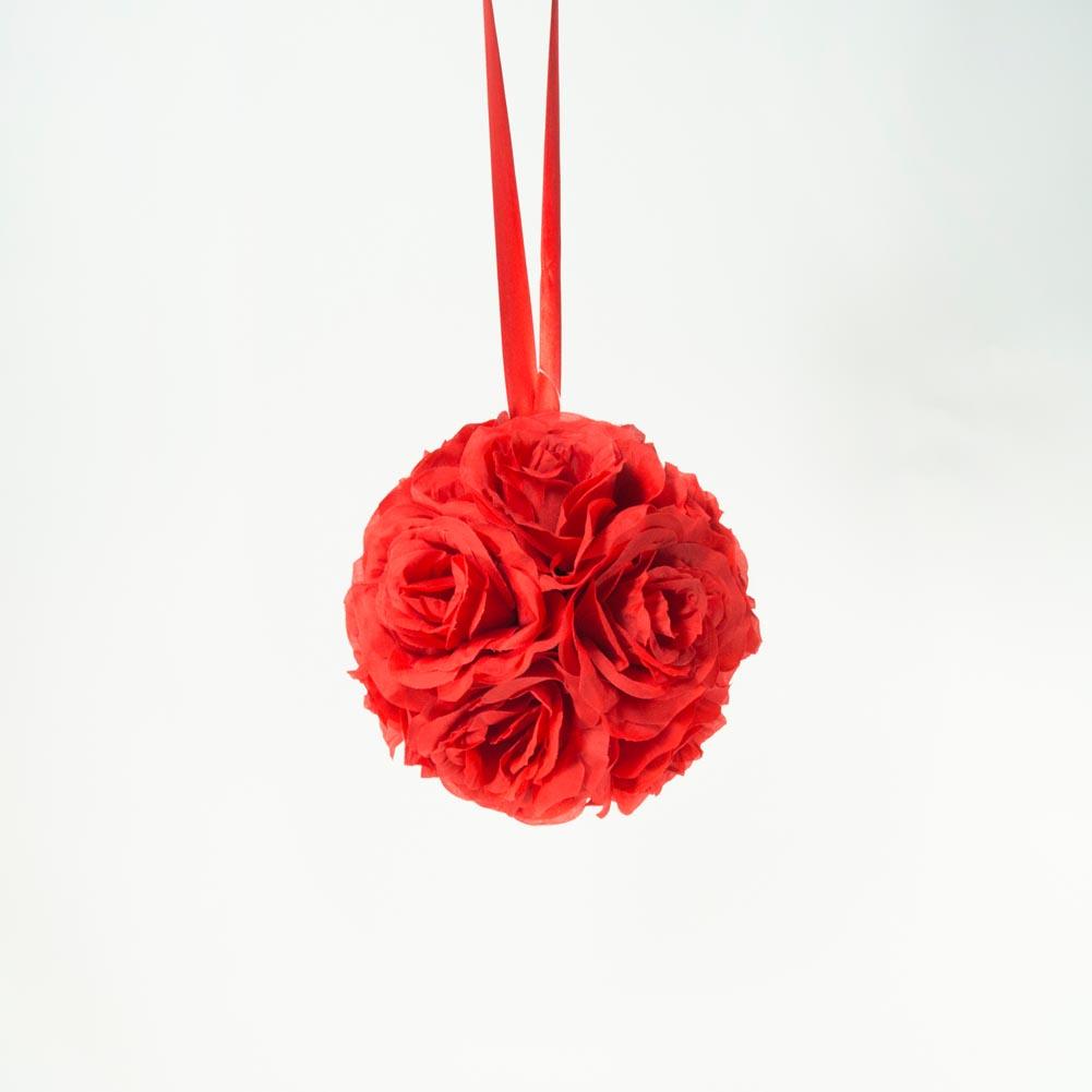 """7"""""""" Red Flower Pomander Kissing Ball"""" 104-094"""