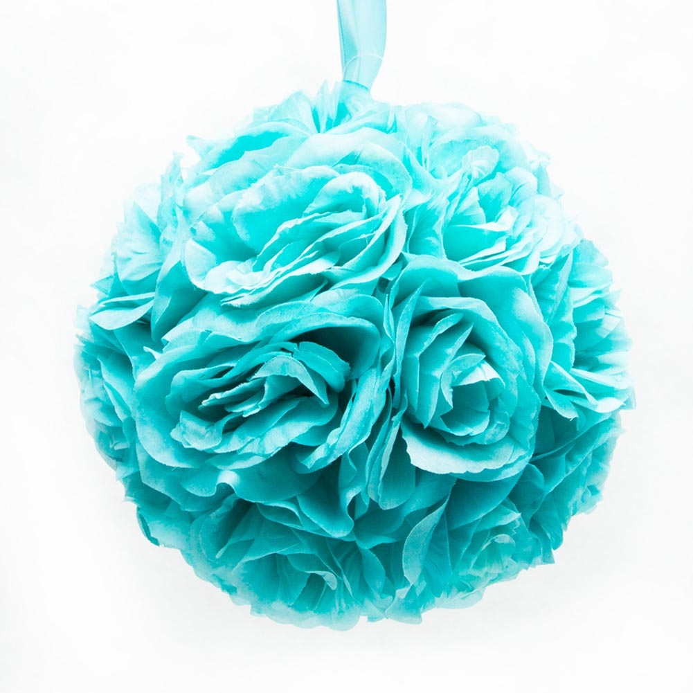"10"" Aqua Flower Pomander Kissing Ball"