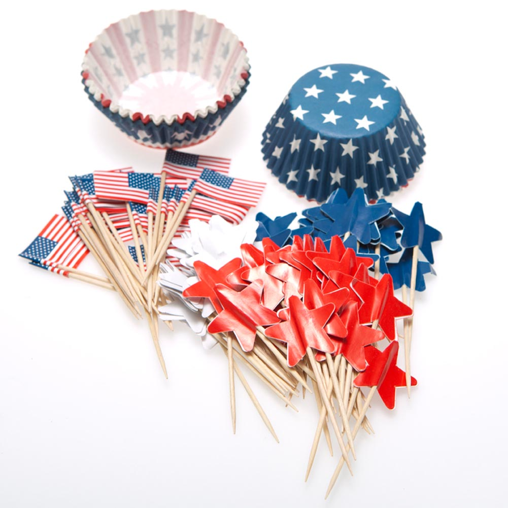 Patriotic Baking Cups with Picks 146-1747