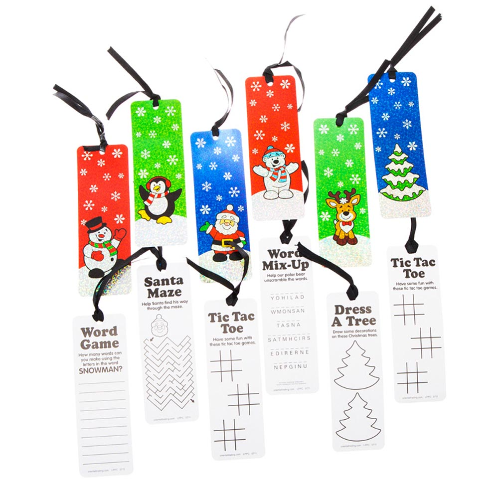 Have Yourself A Merry Little Christmas. Have an even merrier Christmas this season with Christmas Activity Bookmarks. These Christmas bookmarks are a great way to promote reading this holiday season! Christmas bookmarks are perfect for Christmas party favors, stocking stuffers, and classroom holiday parties. 12 Christmas bookmarks per package. Christmas bookmarks are 2 x 6. Holiday bookmarks showcase a Christmas character on the front and an activity on the back. Black ribbon looped through the top of the bookmark. Made of cardboard. Make memories this Christmas with fun holiday favors, Christmas toys, and gifts. Stock up on everything you need to make your Christmas season complete!
