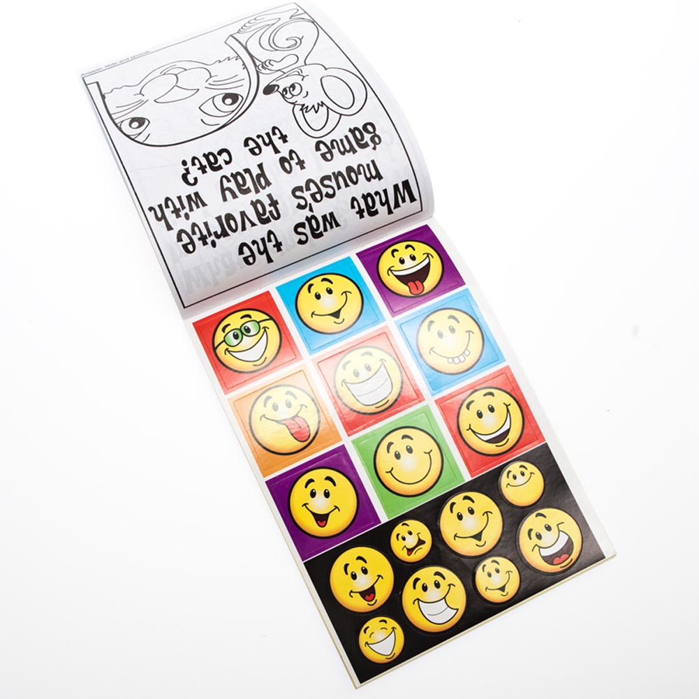 Lots Of Laughs. Need a laughs Use this Activity Joke Book to tickle your funny bone. This smiley face coloring book is perfect for birthday party favors, classroom fun, or a rainy day activity. 24 books per package. Joke book is 5 x 7 when closed. 2 pages of assorted smiley face stickers. 12 coloring pages. Stock up on fun activities for your children to keep them busy on snowy and rainy days! Fun activities are great rewards for your children any day of the year.