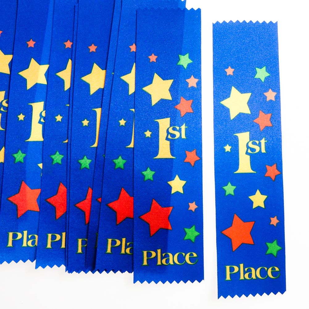 "Reward a Job Well Done. Reward your superstars with ""1st Place"" Award Ribbons for a job well done. From sporting events to academia, award those who have put their all into the task at hand. These blue ribbons are a great way to show appreciation while staying within your budget. 12 ribbons per package. Award ribbons are approximately 1 3/4 x 7 3/4. Make all of your participants winners with unique trophies, ribbons, and medals. Appreciate your contributors and players with awards they will be proud to display!"