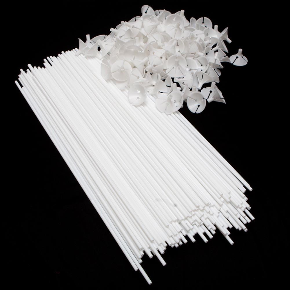 Plastic White Balloon Sticks With Cup 146-2040