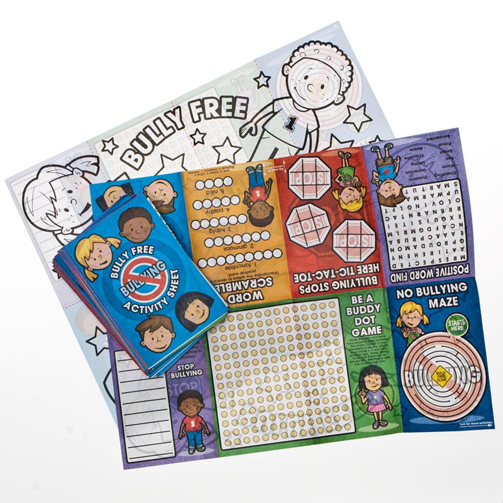 Stand Up to Bullying. Learning how to handle bullies is an important lesson for our children. Reward the children in your classroom with Anti-Bullying Fold Up Activity Books. Teach the children in your life to live bully free with these fun activity sheets! 24 bully free fold up books per package. Bully free activity sheets are approximately 8 1/2 x 11 when unfolded. 8 activities per sheet. Motivate the children in your classroom, library, and home with positive favors, gifts, and stationery. Supply your children with unique activities to make learning extra fun!