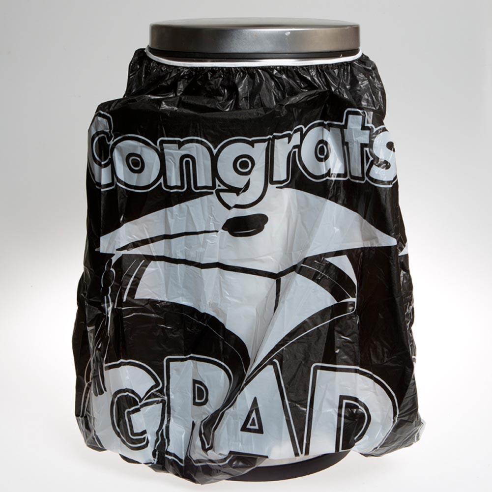 """Black """"""""Congrats Grad"""""""" Trash Can Cover"""" 146-2126"""