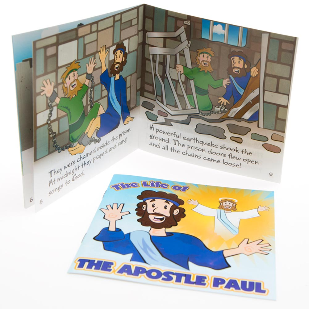 """Religious Readers. Surprise your church going children with Life of Apostle Paul Books. These religious short stories are perfect for youth group evenings and VSB events. """"The Life of The Apostle Paul"""" books are fun reminders of the importance of faith! 12 Apostle Paul books in each package. Religious readers are approximately 5 x 5 when closed. Stock up on the religious favors, toys, and gifts you need to make your vacation bible school, Christian concert, or youth group night one to remember! Quantities Limited. Order now before they're gone forever! Sale items are non-returnable."""