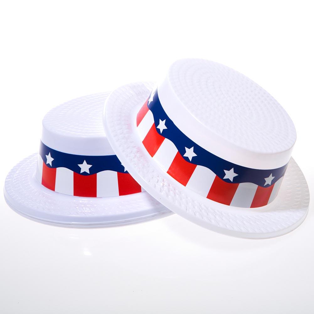 Plastic Patriotic Skimmer Hats