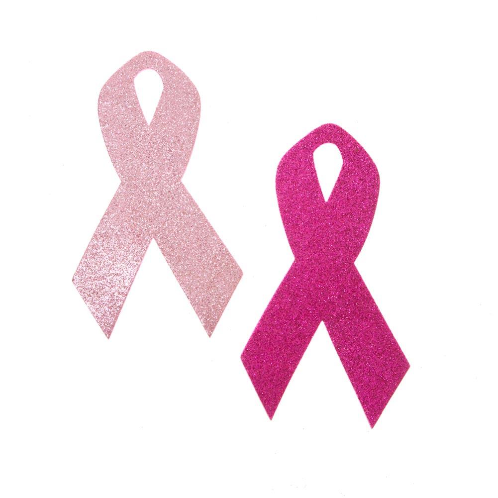 Pink Ribbon Glitter Foam Decorations 146-2437