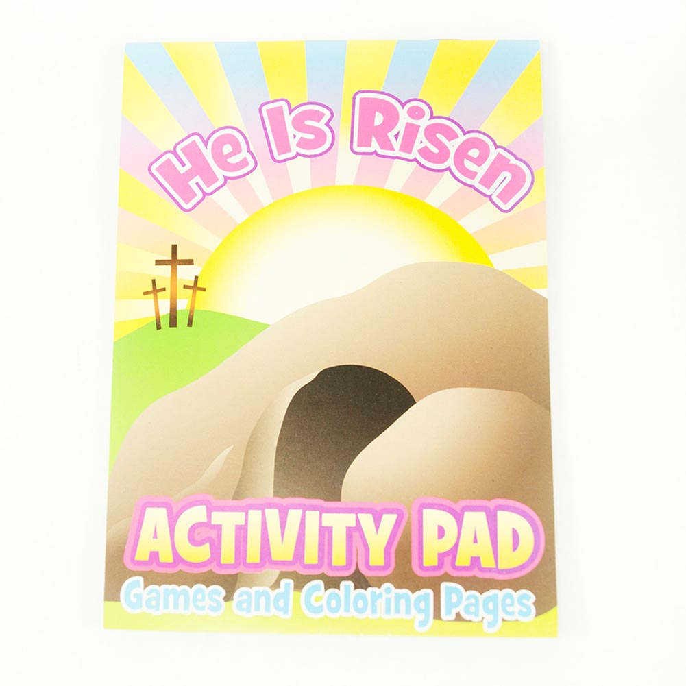 """Religious Favor Fun. Surprise your little church goers with """"He Lives!"""" Activity Pads. These game and coloring books are the perfect way to keep your little ones busy and entertained during your religious or Easter celebration! 12 pads per package. Activity pads are approximately 5 x 7. 48 activities per book. Stock up on the religious favors, toys, stationery, and gifts you need to make your vacation bible school, Christian concert, or youth group night one to remember!"""