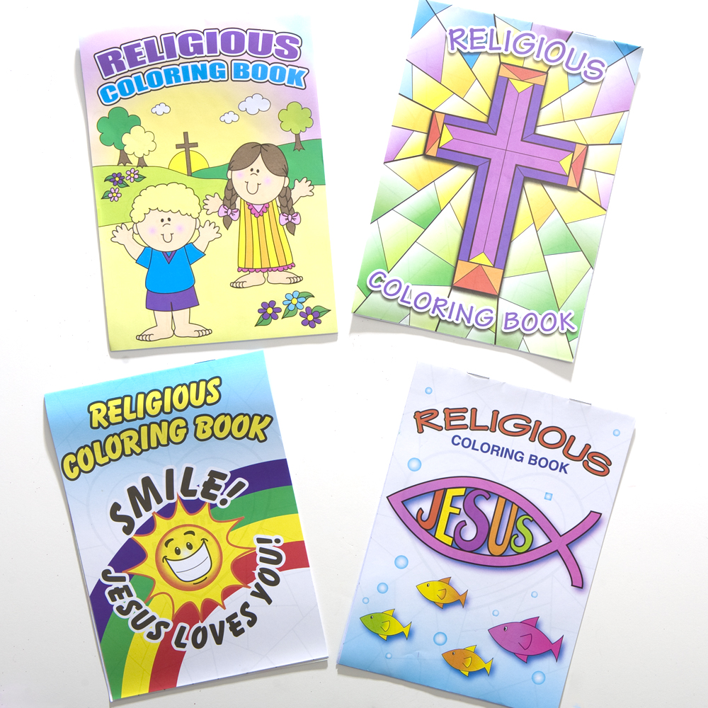 """Religious Party Favors for All your Guests! Surprise your guests with the hottest religious crafts and stationery around. From WWJD to VBS we have all the coolest favors for your religious event. 72 coloring books per package. 7"""" long and 5"""" wide. Six page coloring book. Assorted styles. Having a church partys We have all the religious favors and toys you need to make your church party a hit. Give your guests all the hottest religious toys, like WWJD keychains, cross necklaces, frog favors, and vacation bible school supplies."""