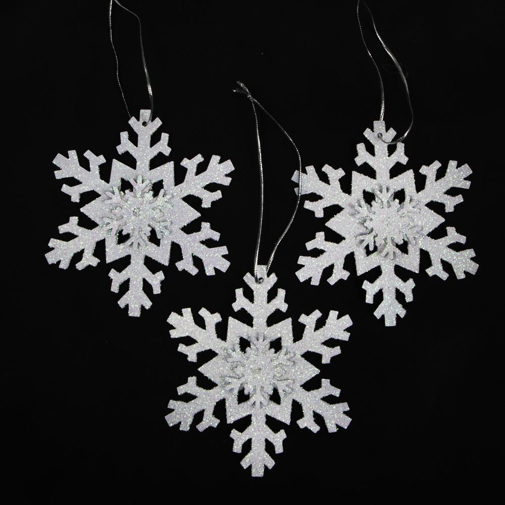 Iridescent Glitter Snowflake Ornaments