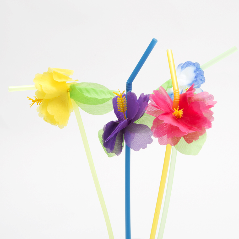Hibiscus Flower Bendable Straws 146-994