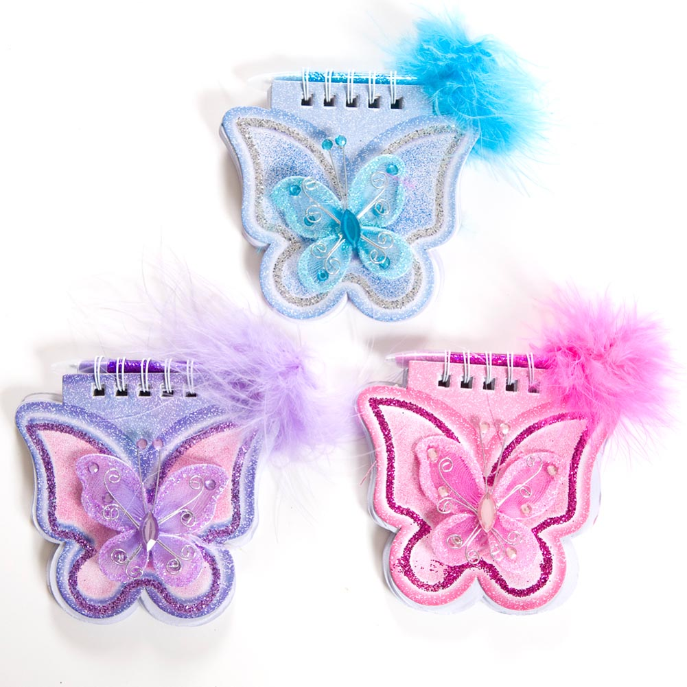 """Complete your Party with Butterfly Favors! The butterfly notebook is the perfect way to liven up your butterfly party. A festive butterfly favor that your guests will love. 3 1/2"""" long and wide butterfly shaped notebook. Matching color feather pen attached. Assorted colors. Approximately 48 blank notebook pages. These butterfly favors are perfect for your next butterfly themed party, wedding, or event. Butterfly favors also make great additions to Easter, and spring time parties. No matter what your event, these butterfly favors will liven it up!"""