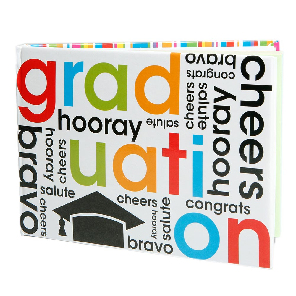 """Remember Graduation with Autographs! The large graduation autograph book is a great way to remember your fellow graduates. Commemorate your elementary school graduation with graduation autograph books. Plus, you can set your autograph book out at your high school graduation party and have your friends and family sign it! 5 1/4"""" long and 3 3/4"""" tall. 80 blank white pages. Hardcover autograph book. Make sure your graduate has a graduation autograph book to remember the year! Graduation autograph books like this make a great gift for each student in the graduating class. Autograph books are great graduation party favors for all your students."""