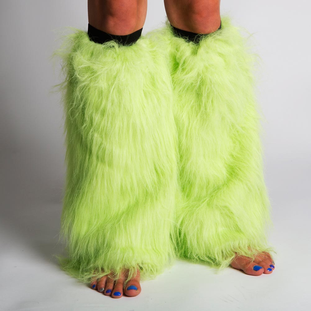 Neon Green Furry Leg Warmers 163-1356