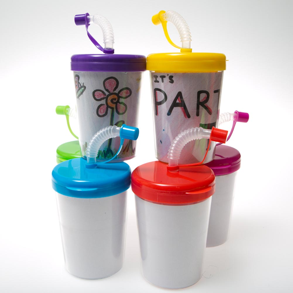 Color Your Own 8 oz. Straw Cups 163-1464