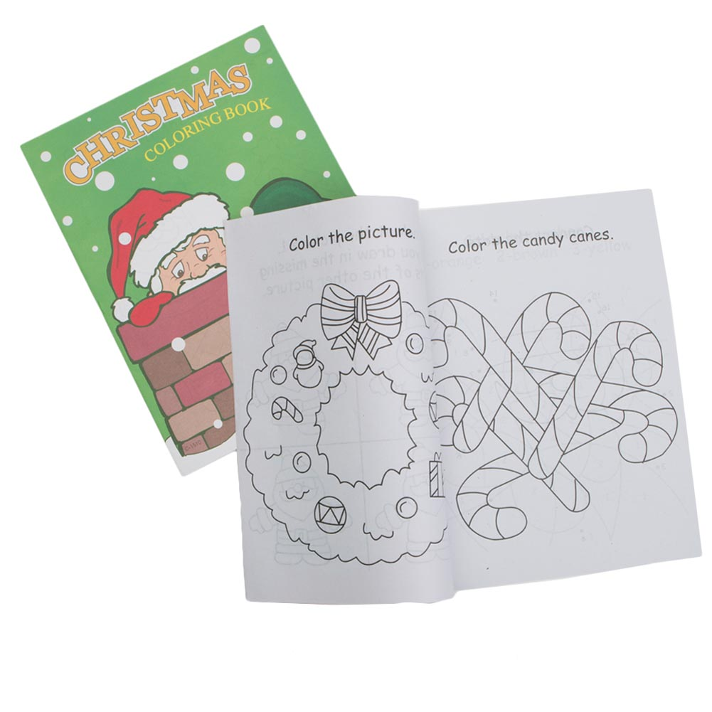 """'Tis the Season for Stocking Stuffers! The Christmas Coloring Book is a great craft activity at any holiday party or Christmas event. A fun favor that will spread holiday cheer to all your party guests. A dozen coloring books per package. 9"""" long and 11"""" wide. 12 page coloring book. Spice up your Christmas party with unique Christmas party favors like these. Our stocking stuffers are ideal to use as party favor give-a-ways at your Christmas office party or any holiday event. We have the Christmas party supplies you need to make your Holiday party or event the talk of the season."""