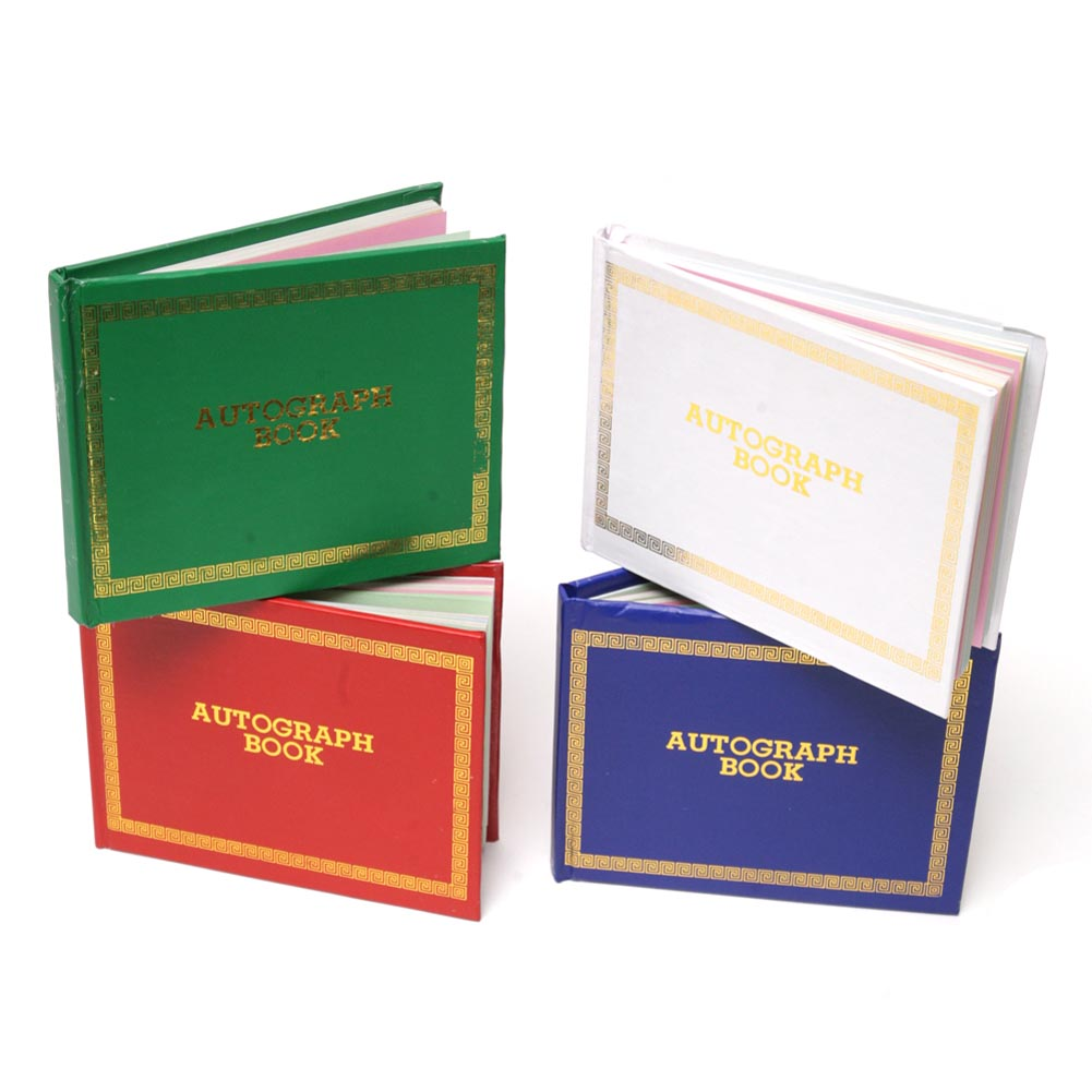 """Commemorate your Graduation with Autographs! Graduation autograph books are a great keepsake for graduates of any age. A graduation autograph book is also a great graduation favor for the graduates, let them collect autographs from their classmates and friends at their graduation. 5"""" long and 4"""" wide. 48 blank pages. Hardcover books in assorted colors. The graduation autograph books are the perfect way to collect graduation memories. Not only can your classmates sign your autograph book, but put it out at your graduation party and let all your friends and family sign it. The autograph book is a simple gift for the graduate that will be a great graduation keepsake for years to come!"""