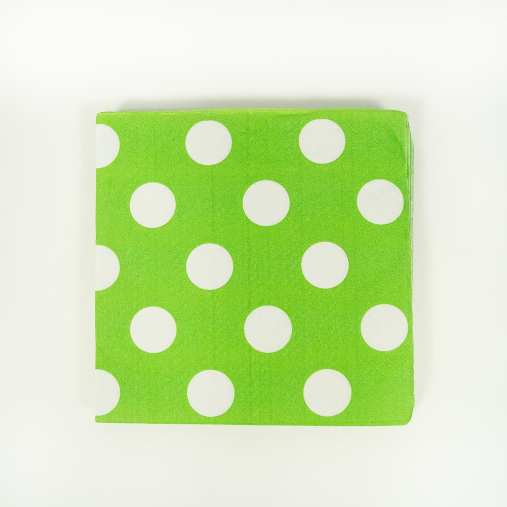 Lime Green Polka Dot Beverage Napkins 203-1046