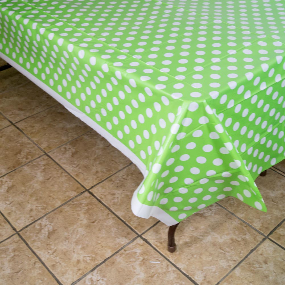 Lime Green Polka Dot Tablecover 203-1051