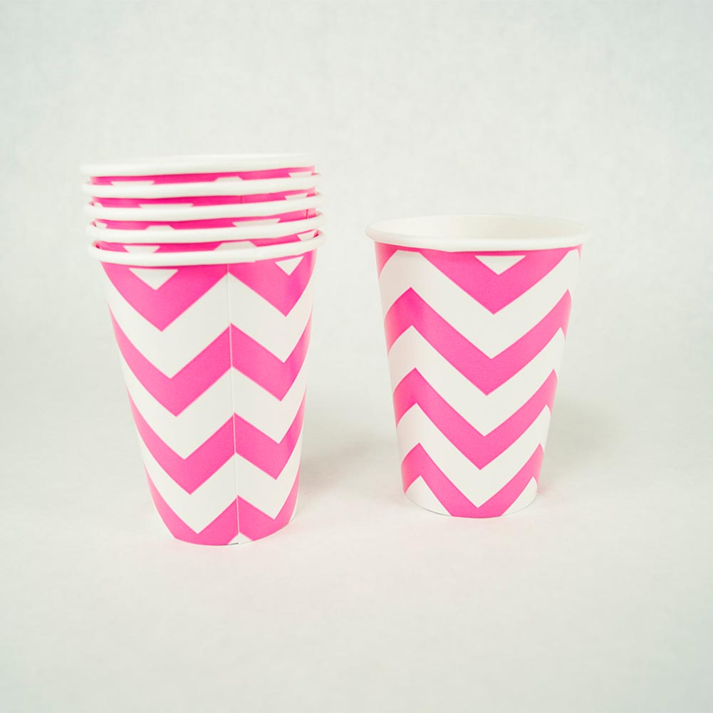 Hot Pink Chevron 12 oz. Cups 203-1072