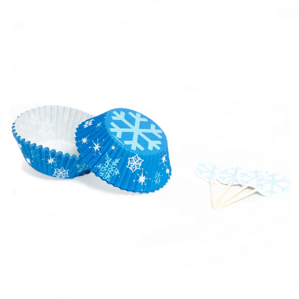 Winter Snowflake Cupcake Liners With Picks 203-1193