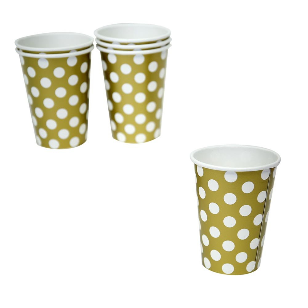 Gold Polka Dot 12 oz. Cups 203-1271