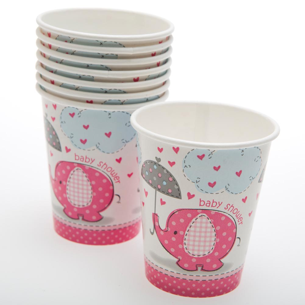 Pink Elephant Baby Shower 9 oz. Cups 203-815