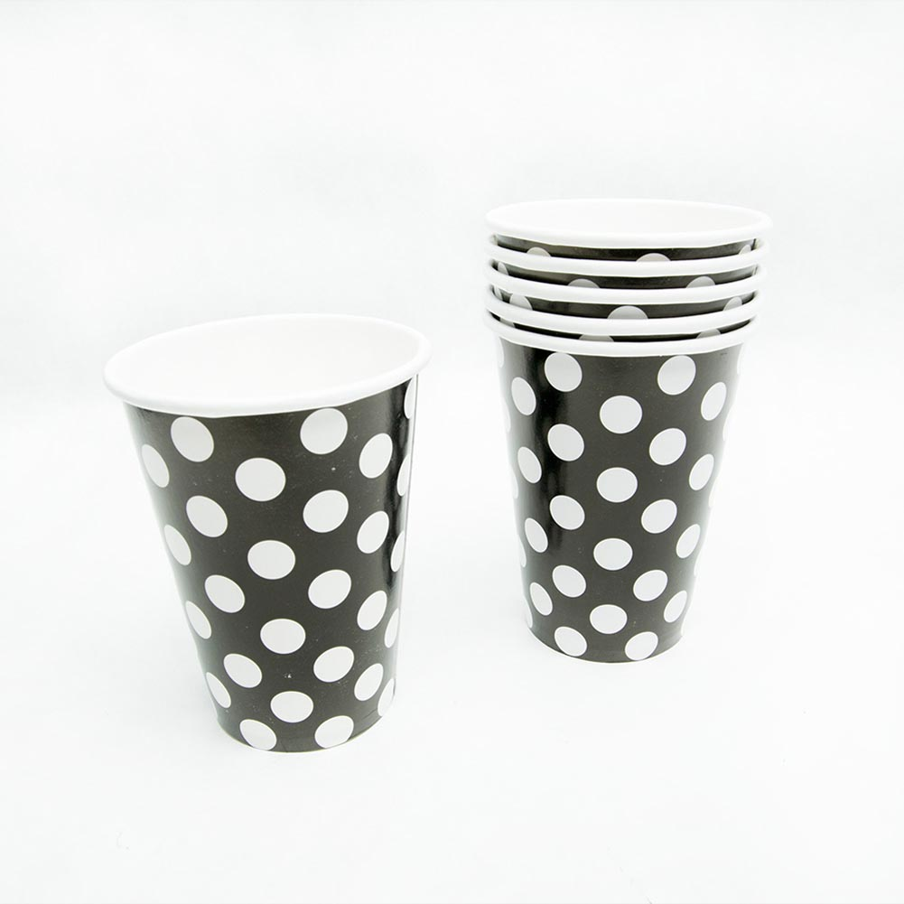 Black Polka Dot 12 oz. Cups 203-931