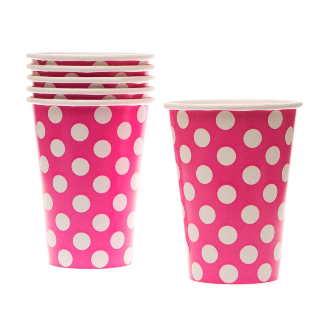 Hot Pink Polka Dot 12 oz. Cups 203-956