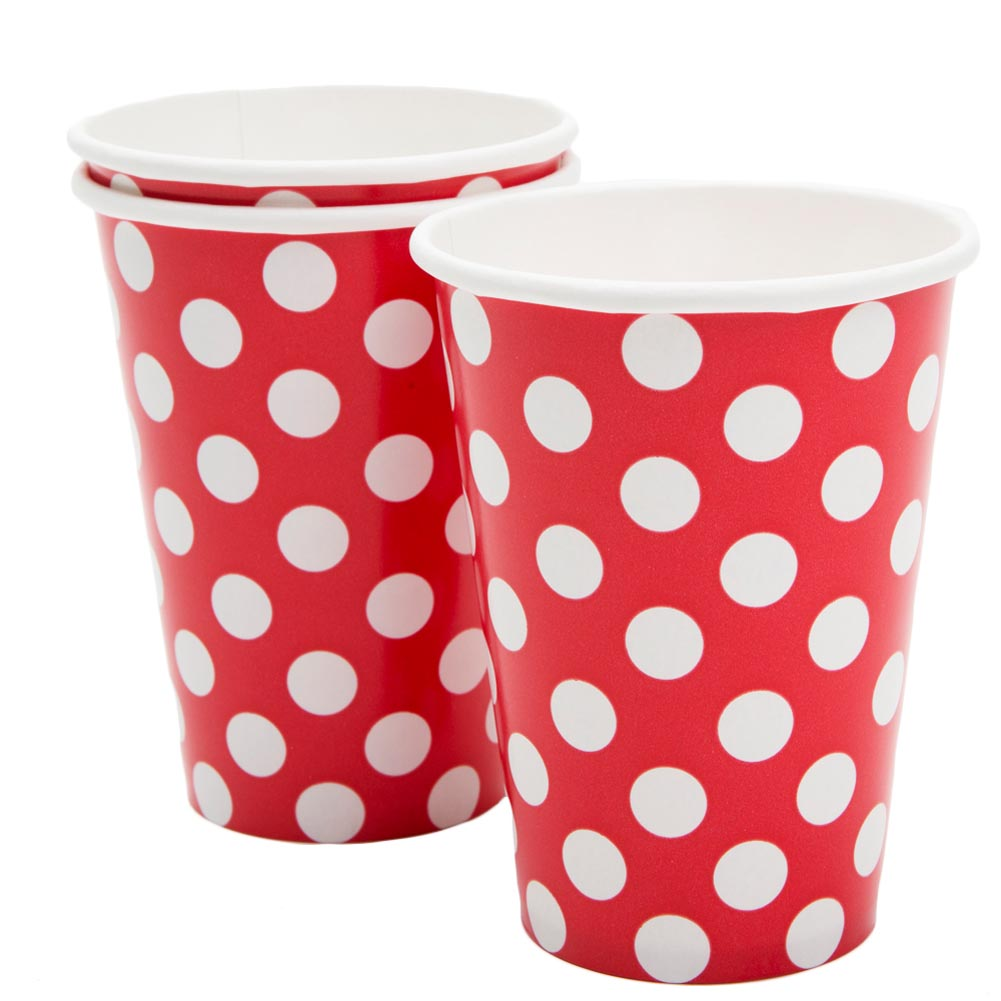 Red Polka Dot 12 oz. Cups 203-974