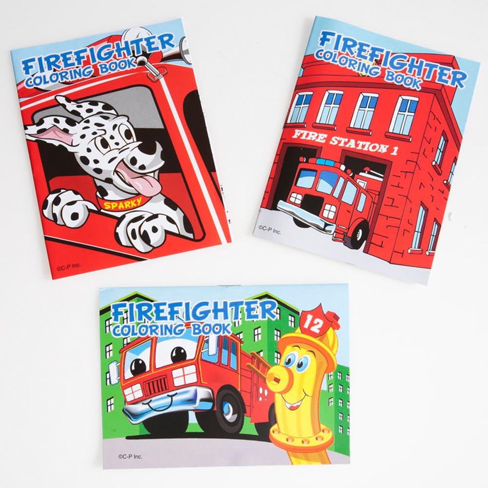 """Fight a Fire in Style! The fire fighter coloring books are the perfect party favor for your fire fighter theme party. Also a great giveaway for community events, and safety awareness. A dozen coloring books per package. 3 3/4"""" long and 5"""" wide. Eight page coloring book. Assorted styles. A simple fire fighter party favor that everyone will enjoy. Whether as a goody bag filler or fire safety giveaway, we have the fire fighter party favors that you need."""